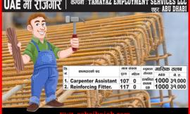 Job For 107 Carpenter &  117 Reinforcing Fitter at UAE