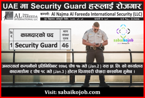 Read more about the article Vacancy for Security Guard at UAE