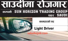 Vacancy For Light Driver in Saudi Arabia