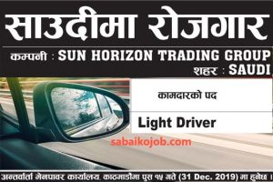 Read more about the article Vacancy For Light Driver in Saudi Arabia