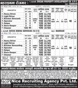 job at dream property development co.s.p.c and quick zebra services