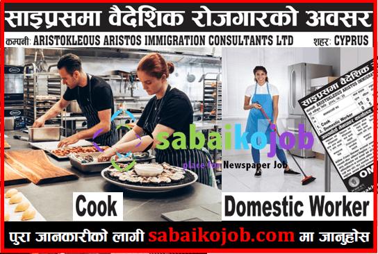 Job in Cyprus | Vacancies for Cook & Domestic Worker | Salary 113635/-