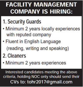facility management-secuity,cleaner