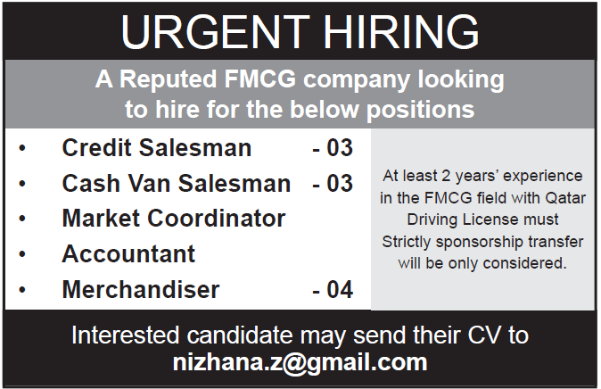 FMCG company in qatar is hiring for different position
