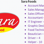 Vacancy at Sara Foods on 10 various post