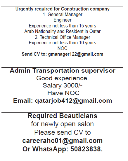 job for beauticians transportation supervisor and in construction company