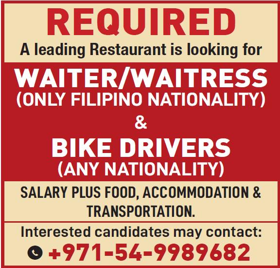 job for waiter,waiters and bike drivers