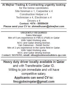 Various job vacancy in Qatar