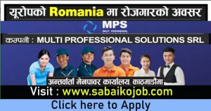 Read more about the article Vacancy at MULTI PROFESSIONAL SOLUTION SRL