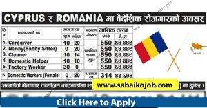 Read more about the article Foreign Employment Opportunity in Romania & Cyprus