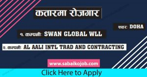 Read more about the article Job Alert ! Vacancy Announcement From Qatar, SWAN GLOBAL WLL
